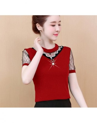 2019 new mesh stitching lady office shirt elegant female short sleeve casual tops fashion women blouse plus size - red - 4I3...