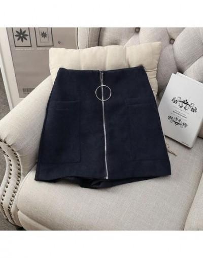 2019 Women Shorts Wide Leg Womens Cotton Blends Shorts High Waist Front Zipper Shorts with Pockets Sexy Mini Shorts Skirt - ...