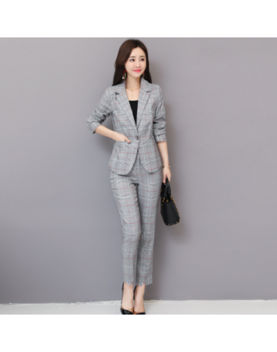 2 Two Piece Set 2018 Autumn New Houndstooth Business Blazers Jacket and Straight Pants Set Woman Elegant Office Work Slim Su...