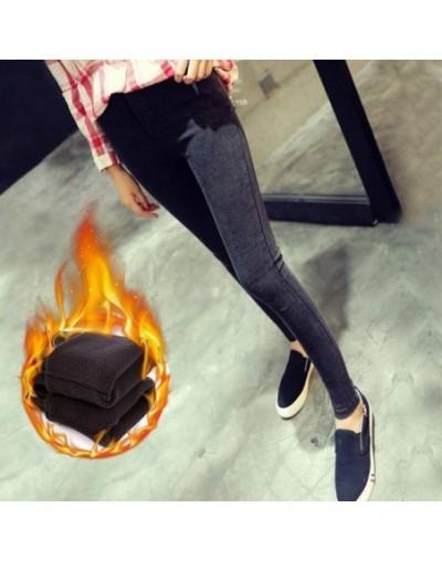 High Waist Boyfriend Jeans Female Winter Velvet Pants Fleece Warm Stretch Skinny Jeans Mujer Slim Femme Pencil Pants For Wom...
