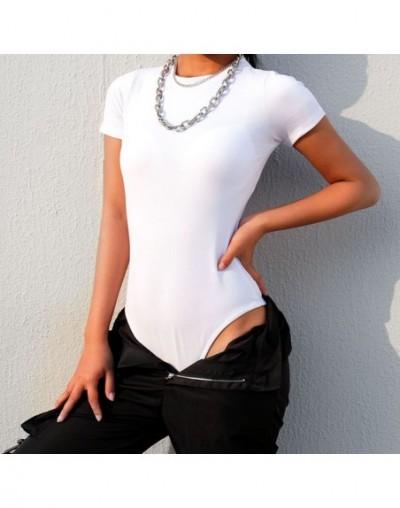 Casual Solid Fitness Basic Summer Bodysuit Women Short Sleeve Body Rompers Womens Jumpsuit 2019 Black White Bodysuits - whit...