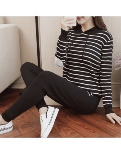 autumn winter knitted 2 piece set tracksuit women trousers set striped hooded pullover pants set sport clothes female P363 -...
