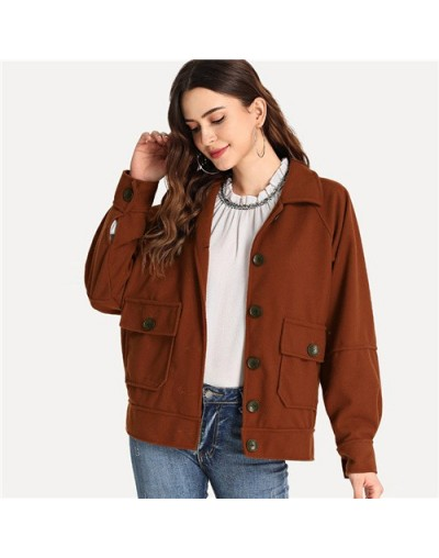 Rust Casual Dual Pocket Solid Jacket Single Breasted Turn-Down Collar 2018 Autumn Women Vintage Tops And Coats - Rust - 4430...