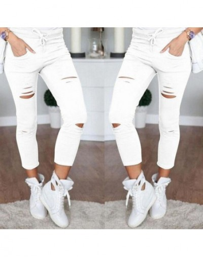 New 2019 Skinny Jeans Women Denim Pants Holes Destroyed Knee Pencil Pants Casual Trousers Black White Stretch Ripped Jeans -...