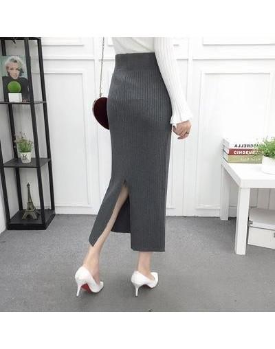 Women Back Slit Bodycon Elegant Midi Pencil Skirt Autumn Winter Casual Knitted Skirt High Waist Skirts Womens Jupe Femme Fal...
