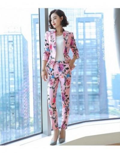 2019 Floral Blazer Women Elegant Chic Full Sleeve Flower Jacket Retro Casual Plus Size Suits Coat Office Ladies Work Wear - ...