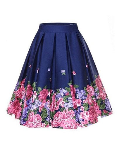 4XL Floral Print 50s 60s Skirts Plus Size Big Swing Retro Skirt High Waisted Pleated Skirt 50s Rockabilly Vintage Women Clot...