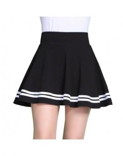 Women Skirts High Waist Chic Striped Stitching Skirt Student Elastic Waist Pleated Skirt Women Cute Sweet Girls Dance Skirt ...