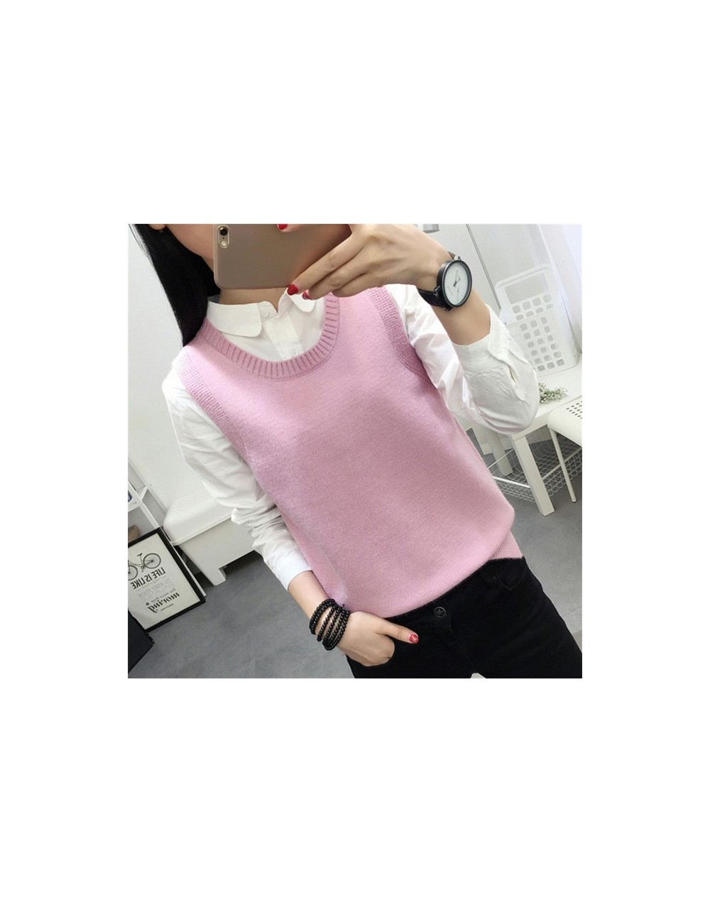 Sleeveless Vest Sweater Women Preppy Style Look Round Neck Side Vent Slit Knitted Vest Pullovers T Jumper Female Knit Sweate...