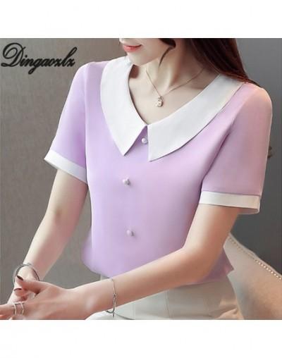 Korean Fashion Chiffon shirt Summer 2019 Office lady Tops Short sleeve Women blouse blusas de inverno feminina - purple - 4E...