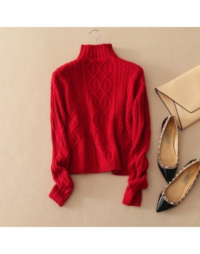 Sweater Women 's Cashmere Knit Jacket Autumn Winter Housewife Sweater High Collar Sweater Standard Pullover S-XL - Red - 4V3...