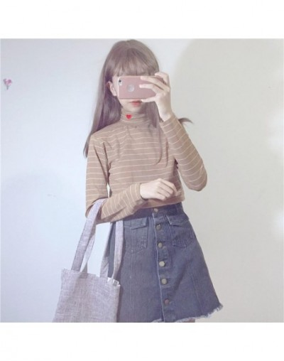 Stripe Pullover Heart Embroidery Top 2019 Autumn Spring Long Sleeve Turtleneck Tops Woman Fashion Slim Fit Clothes 34060 - 3...