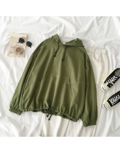 Harajuku Casual Hoodie Women Kpop Ulzzang Oversized Pullover Girls Japanes Long Sleeve Drawstring Green Elegant Sweatshirt -...