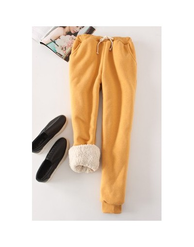 Winter Lambskin Thicker Elastic Waist Pants Loose Large Size Solid Color Cotton Harem Pants Women Casual Warm Trousers - YEL...
