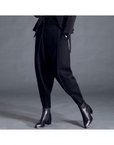 2019 New Spring Fashion Tide Black High Waist Elastic Pockets Patchwork Casual Woman Full Length Harem Pants SA155 - black -...