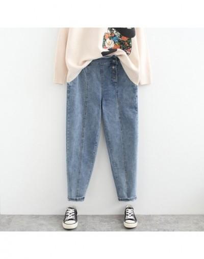 Asymmetrical Button Fly Jeans Women Trousers Casual Regular Slim Denim Pencil Pants Plus Size Jeans Black Blue SWM1299 - Blu...