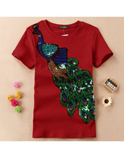 New Fashion Women Elegant Peacock O Neck T shirt Femal Sequins Embroidery T-shirt Casual Top Tees Plus Size S-4XL - O Neck W...