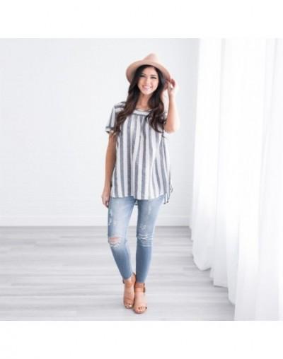 Fashion Women Ladies O-Neck Casual Short Sleeve Striped Shirt Tops - Gray - 464133899107-2