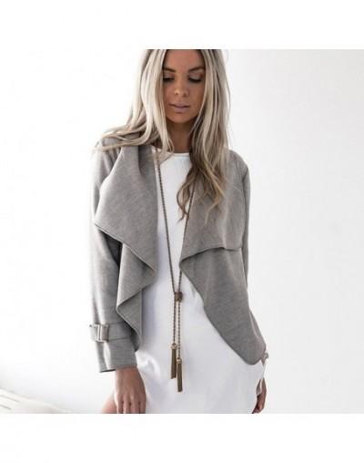 Fashion Women Turn-down Collar Long Sleeve Cardigan Coat Female Lapel Short Jacket Ladies Female Jackets Cardigans - grey - ...