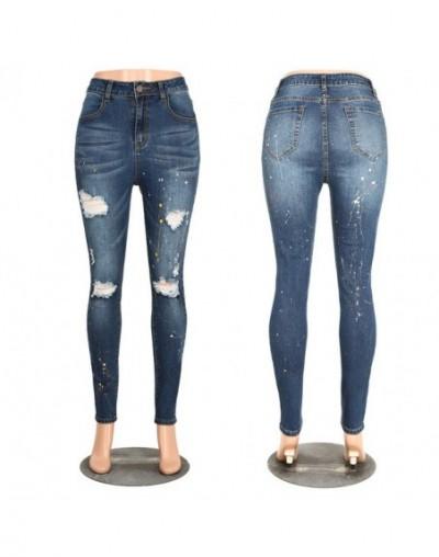 Plus Size Fashion Ripped Jeans Women High Waist Denim Pencil Pants Ladies Streetwear Splash-ink Trousers Jeans Mujer - 154 -...