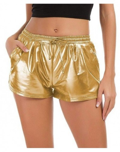 2019 Summer Women Shorts Shiny Metallic Hot Shorts Home shorts Casual Elastic Drawstring Festival Rave Booty Shorts Plus Siz...