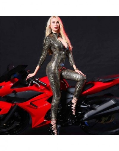 Ladies Jumpsuit Women Bodysuit Slim Fit Casual Fashion Bodycon Overall Leather Zipper Tight Snake Slim Fit Fashion Sexy Jump...