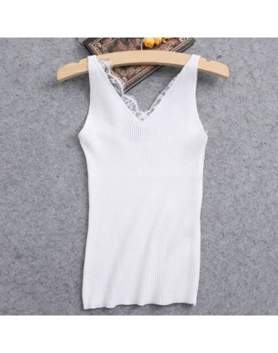 Sexy V-neck Lace Camis Vest Slim Tops Fashion Woman Clothes Summer Fitness Tank Top Sleeveless - 2 - 4W3973006922-7