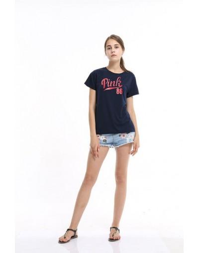 New 2017 Summer Fashion Women T-shirt PINK 86 Tops Tees Print Letter T Shirt Slim Dark Blue Harajuku Tshirt - 141 - 4E398897...