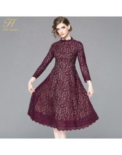 New Arrival 2019 Spring Purple Lace Dress Fashion Europe Style Elegant Slim Ladies Party Women Casual Dresses - Purple - 4I3...