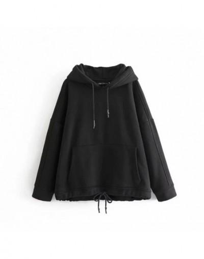 Women Harajuku Cotton Hoodies Solid Patchwork Pockets Regular Oversize Sweatshirt Plus Size Tops Hoodies - Black - 494158037...