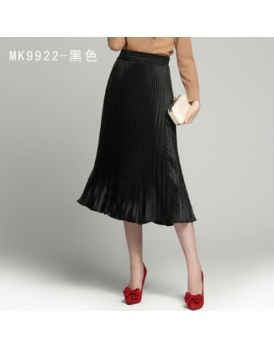 women pleated skirt new spring and summer skirts 2018 Europe and metallic type women skirts - black - 423911769628-2