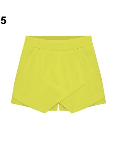 Women's Summer Sexy Casual Asymmetrical Front Candy Color Tulip Skort Shorts - YELLOW - 473874274051-5