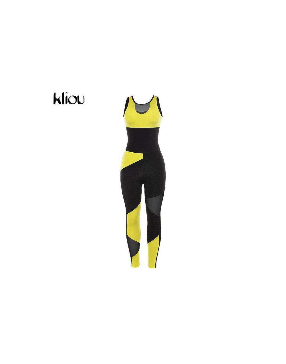 women yellow patchwork sporting jumpsuits elastic skinny fitness bodysuit female sexy backless hollow out mesh sportswear - ...