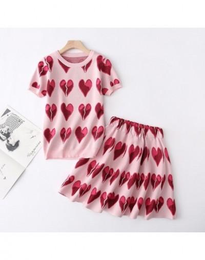 2019 Summer Runway Knit Skirt Suit Women Short Sleeve Love Jacquard Sweater Top + Mini A-Line Skirt Set Girls Student 2pcs S...