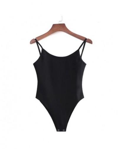 Sexy Backless fit Romper Body Siamese Bodysuit Slim Spaghetti Strap Skinny Tight Fashion Undershirt Playsuits 5 Colors - Bla...