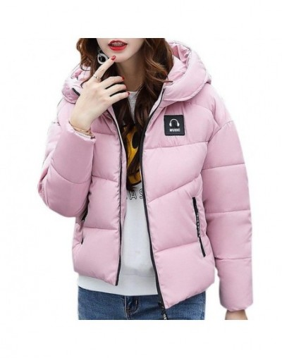 Women Cotton Padded Jacket Zipper Short Hooded Coat Winter Warm Top for Ladies - Pink - 4O3044701666-4