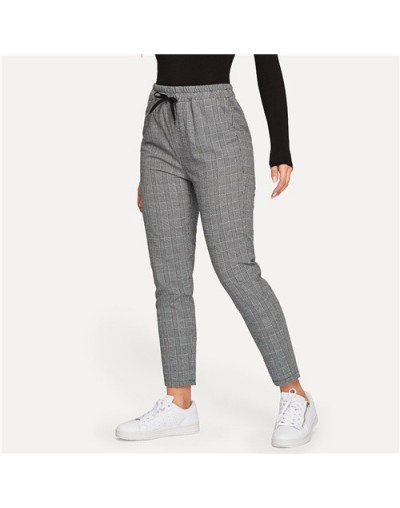 Drawstring Waist Plaid Pants Women Streetwear Grey Pants 2019 Spring Casual Basics Tapered Pants And Trousers - Gray - 4L300...