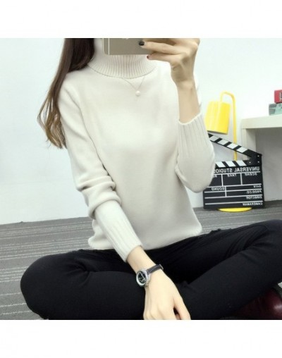 Women Autumn Winter Long Sleeve Knitted Women Sweaters And Pullovers Turtleneck Sweater Female Jumper Pull Femme - White - 4...