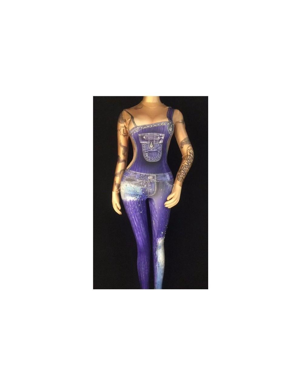 Personality 3D Pattern Printing Stretch Spandex Jumpsuit Sexy Lady Nightclub DJ Singer DS Costume Acrobatics Performance Clo...