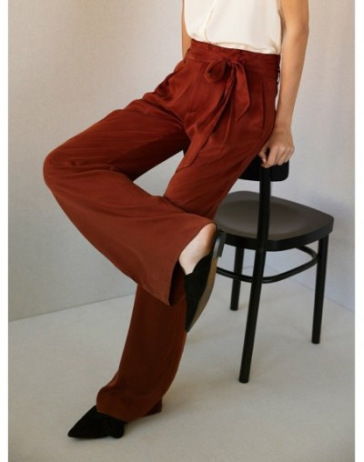 2019 Early Spring Copper-Ammonia Silk Ribbon Pants Glossy Casual Lazy Flower Pants women Wide-leg Pants (Length 100cm only) ...