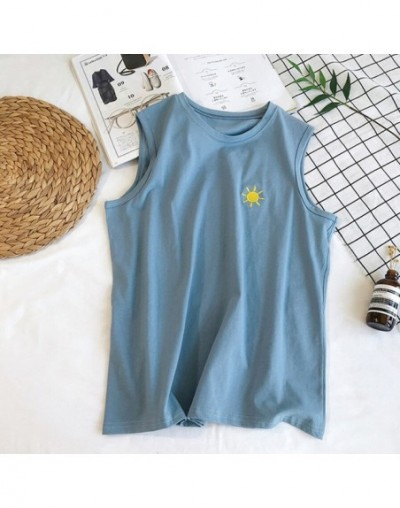 2019 Women Tank Tops Summer Clothing Fashion Casual Loose Cotton embroidered Moon sleeveless Vest - Blue - 5Q111219624727-2