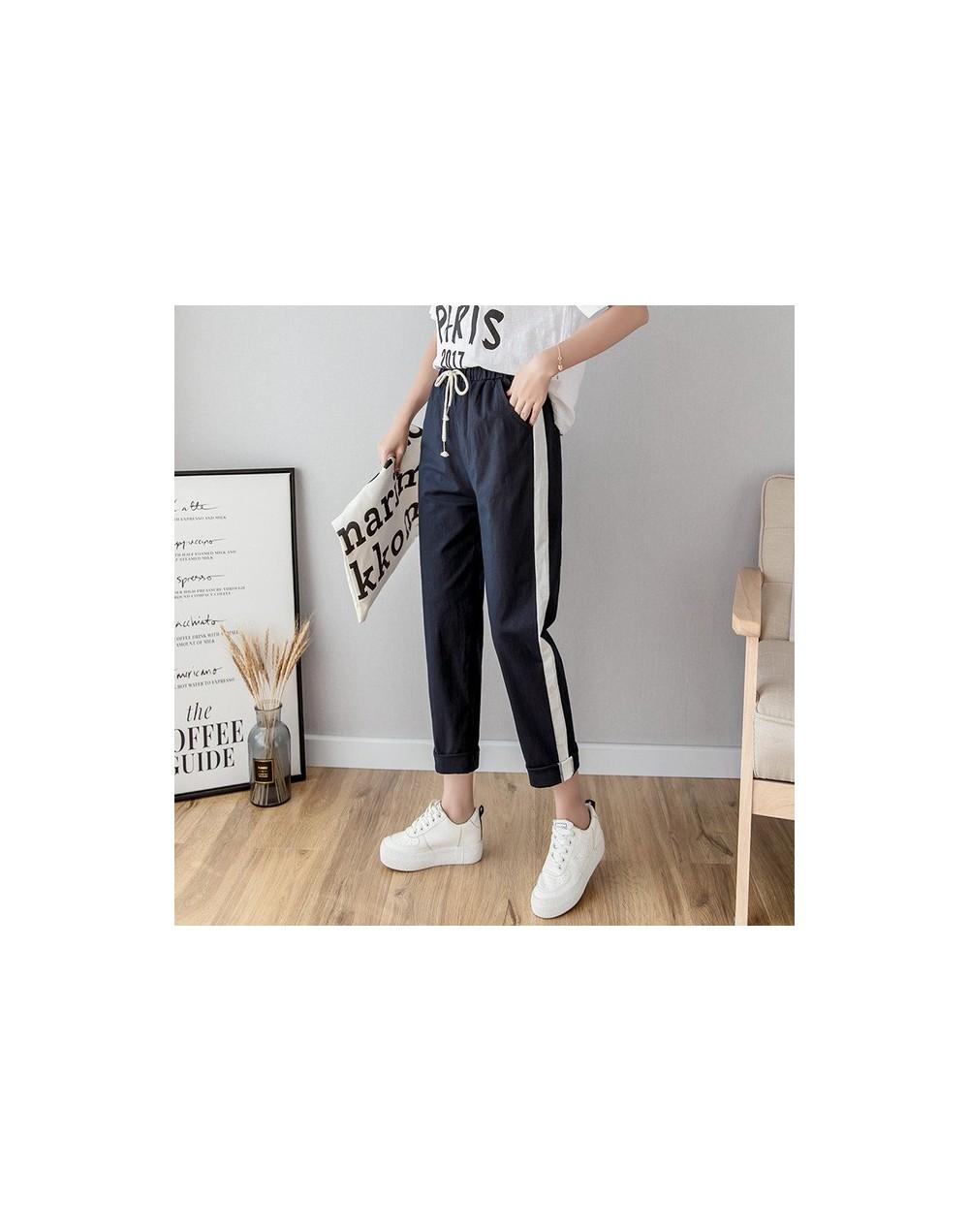 Pencil Casual Women's Pants New Fashion Cotton Linen long Women High Waist Pants Spring Summer Casual Striped Women's Trouse...