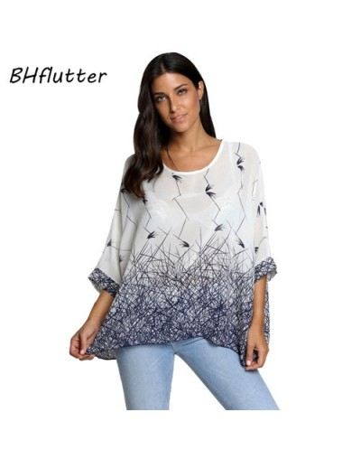 Women Shirts Casual Print Summer Tops Blouses 2018 New Arrival Batwing Sleeve Chiffon Blouse shirt Plus Size Blusas - pictur...