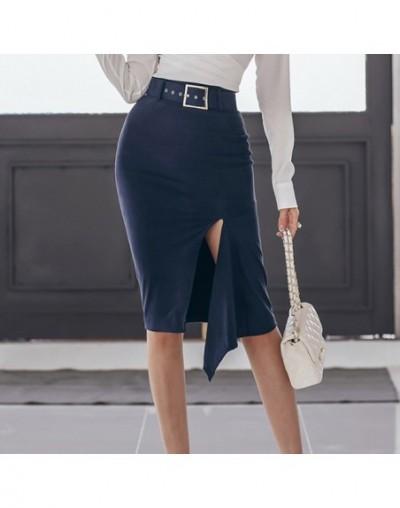 Women 2019 New OL 2 Pieces Business Suits Irregular White Shirt + Sexy Split Sheath Bodycon Skirt Wear To Work Sets - Black ...