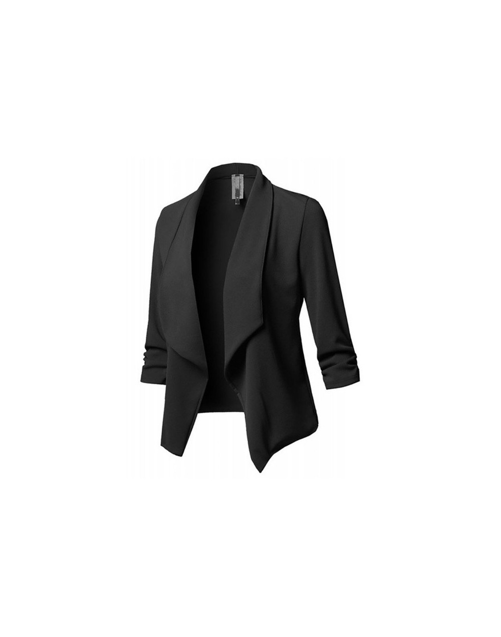 Women new Autumn Tops Slim Long Sleeves Pleated Blazers Tops Solid Color Casual Wild Small Blazers Plus Size L-4XL - Black -...