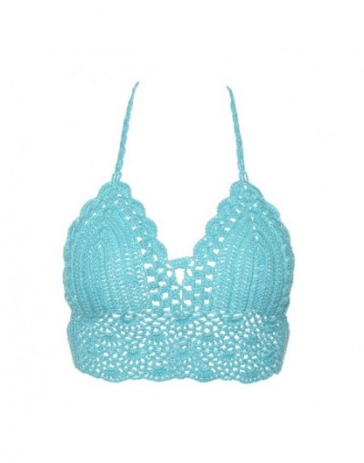 New Sexy Bikini Crop Top Women Crochet Boho Beach Camisoles Bikini Bralette Halter Cami Knitted Bra Backless Beachwear Tank ...