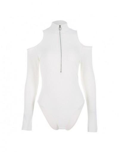 Long Sleeve Bodysuit Black White Bodysuit Women Hollow Out Turtleneck Zipper Casual Elegant Bodycon Jumpsuit Winter - White ...