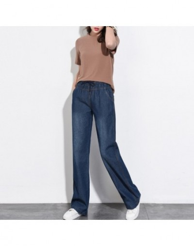 Summer Jeans For Women Denim High Waist Washed Wide Leg Pants Mom Jeans female Straight Loose Long Trousers Plus Size - dark...