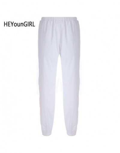 Casual White Joggers Women Patchwork Zipper Baggy High Waist Pants Fashion Korean Ladies Sweatpants Pockets Summer - White -...