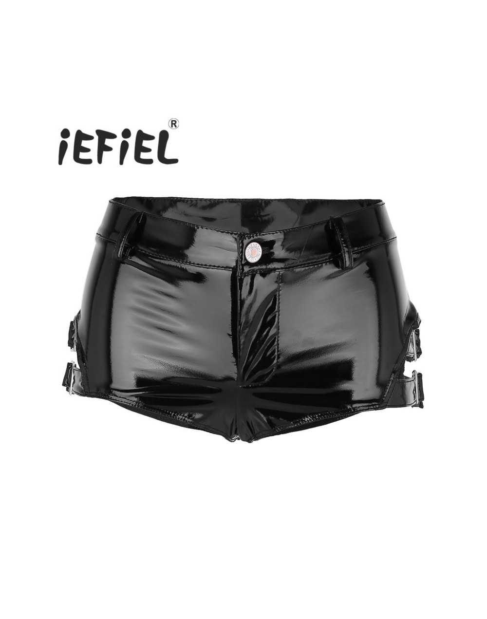 Fashion Women Shorts Wet Look Patent Leather Low Rise Clubwear Mini Shorts Hot Shorts with Buckles Nightwear Clothes - 4L399...